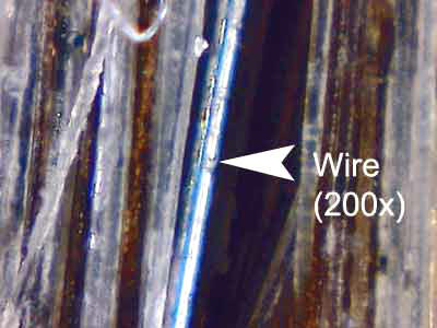 Wire size as compared to hair